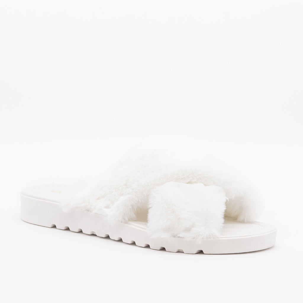 Womens Fluffy Criss Cross Slides - Qupid Shoes - White / 5