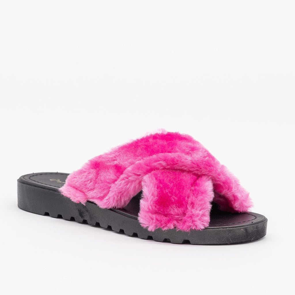 Womens Fluffy Criss Cross Slides - Qupid Shoes - Fuchsia / 5