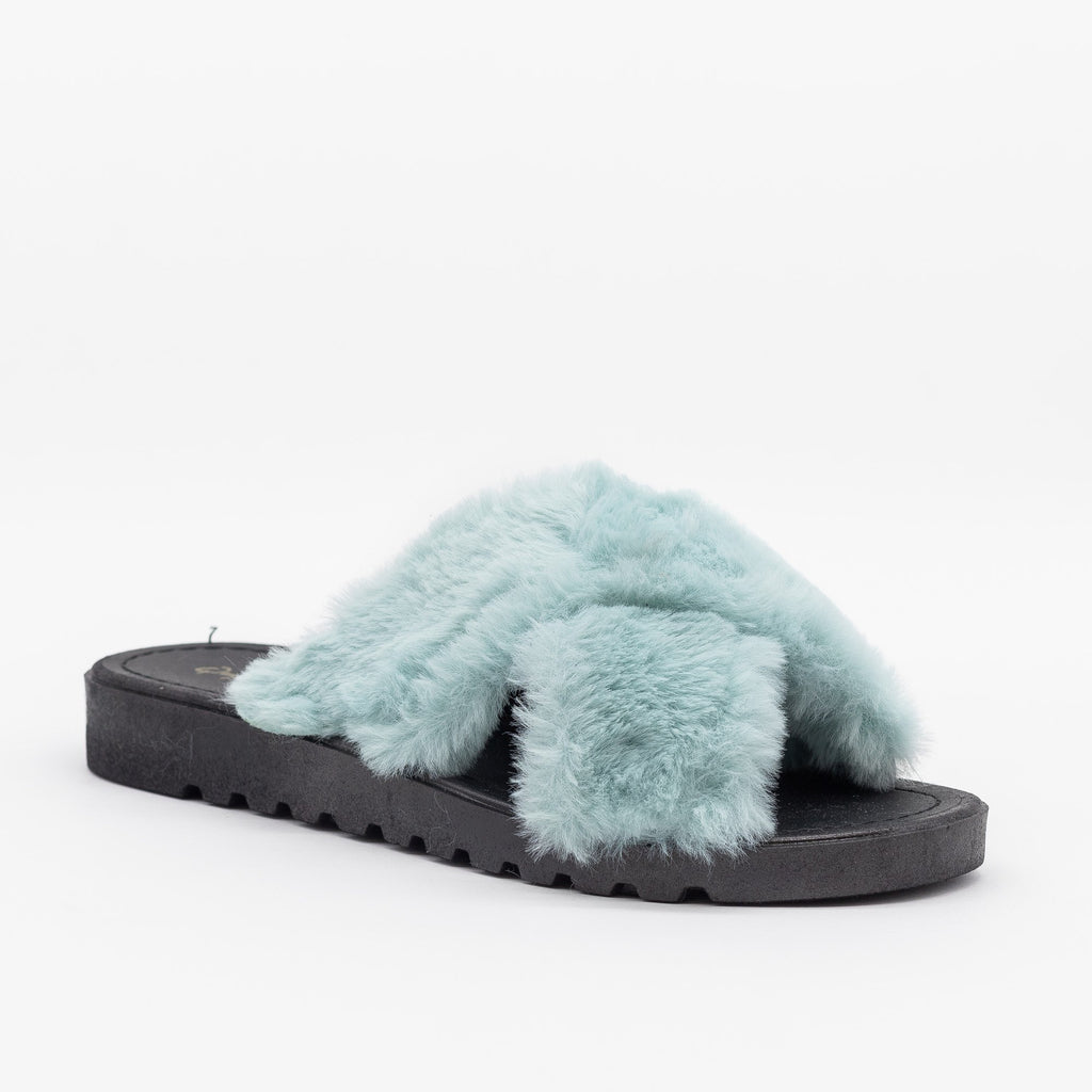 Womens Fluffy Criss Cross Slides - Qupid Shoes - Mint / 5