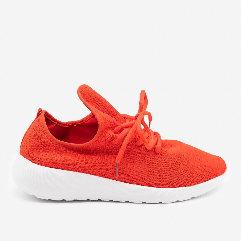 Women's Flyknit Athleisure Sneakers - Forever - Red / 5