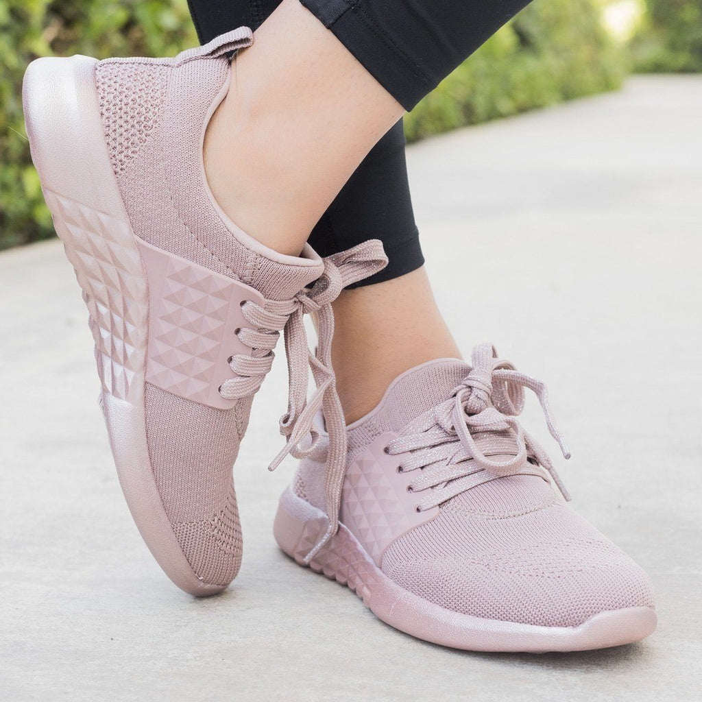 Womens Flyknit Athleisure Sneakers - Qupid Shoes - Mauve / 5