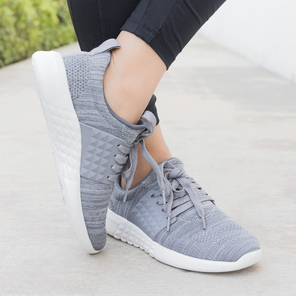 Womens Flyknit Athleisure Sneakers - Qupid Shoes - Charcoal / 5