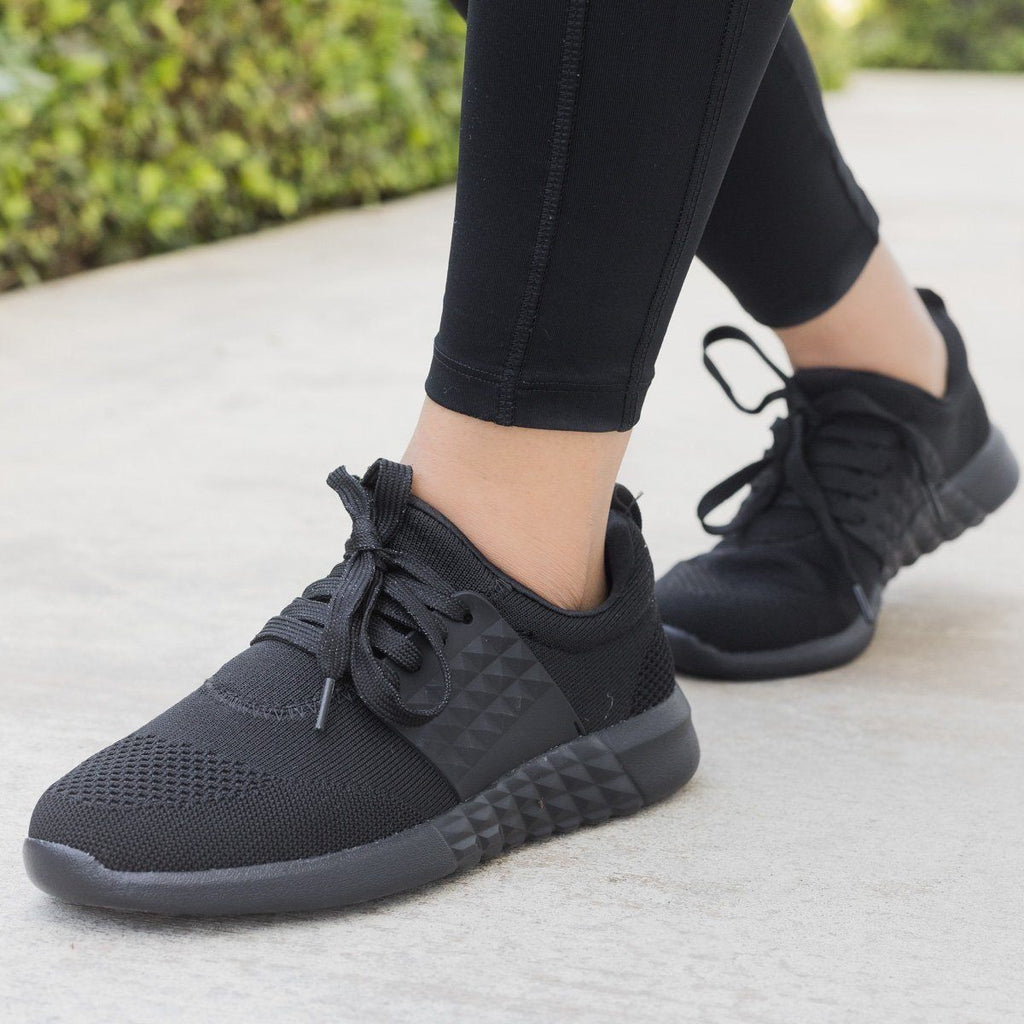 Womens Flyknit Athleisure Sneakers - Qupid Shoes - Black / 7.5