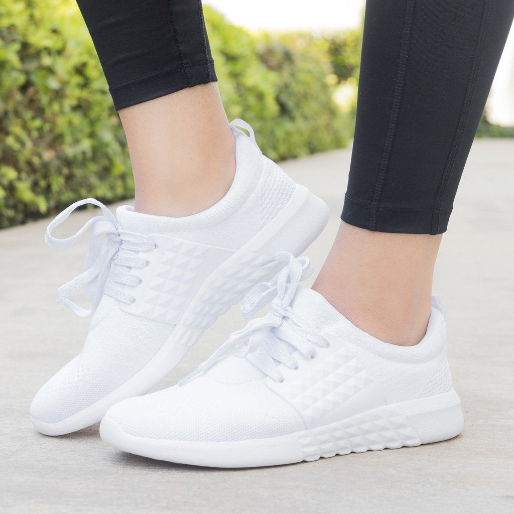Womens Flyknit Athleisure Sneakers - Qupid Shoes - White / 7.5