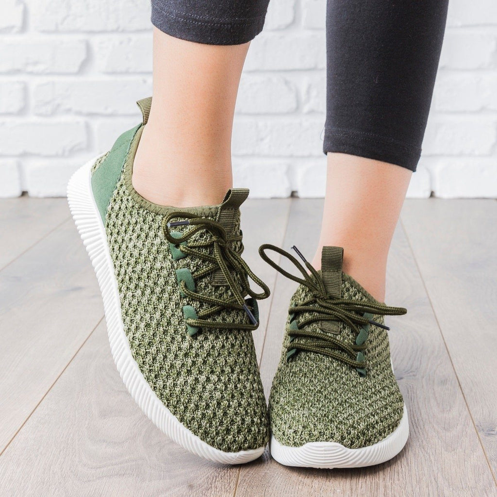 Womens Flyknit Athleisure Tennis Shoes - Anna Shoes - Green / 7.5