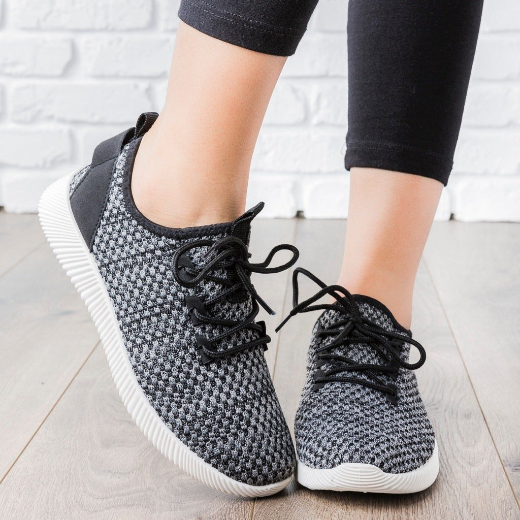 Womens Flyknit Athleisure Tennis Shoes - Anna Shoes - Black / 7.5