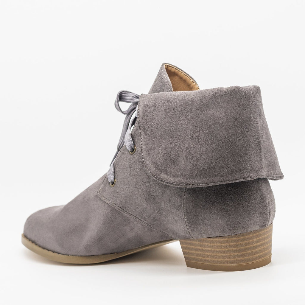 Womens Folded Over Lace-Up Booties - AMS Shoes