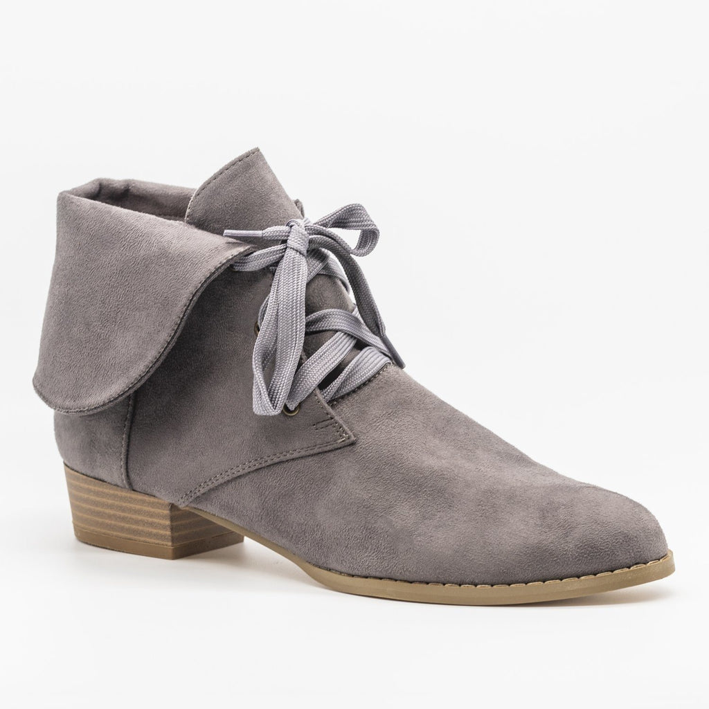 Womens Folded Over Lace-Up Booties - AMS Shoes - Gray / 5