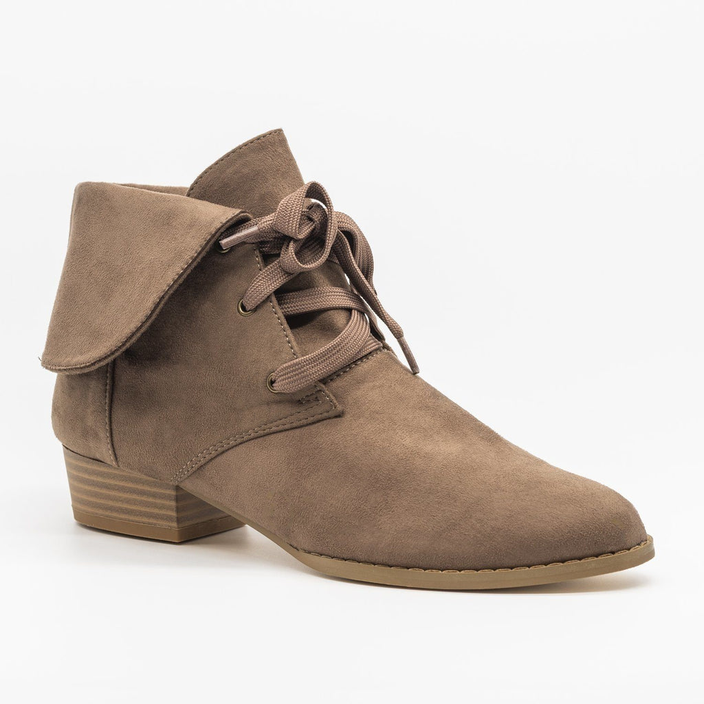 Folded Over Lace-Up Booties - AMS Shoes