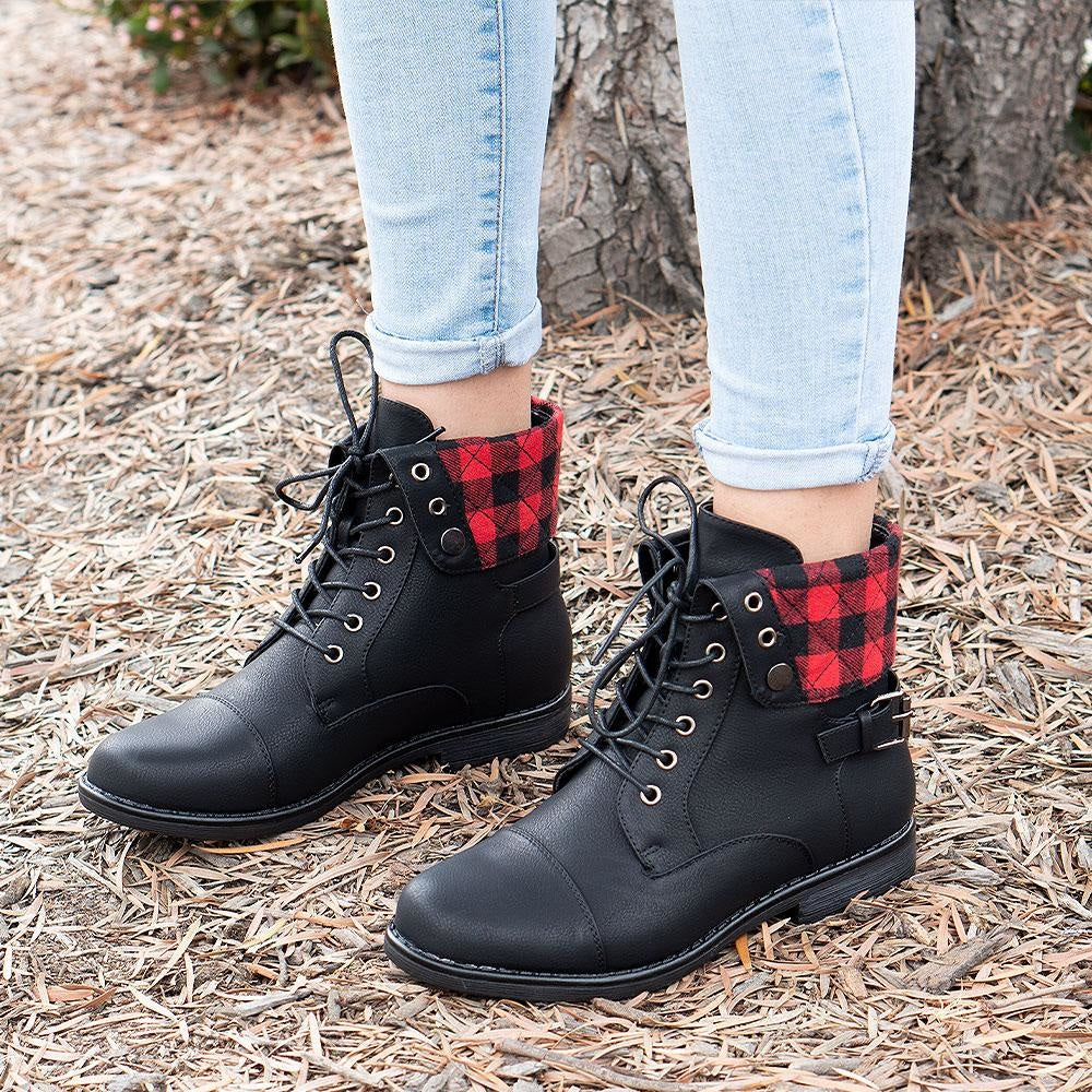 Women's Folded Pattern Boots - Forever - Red Plaid / 5