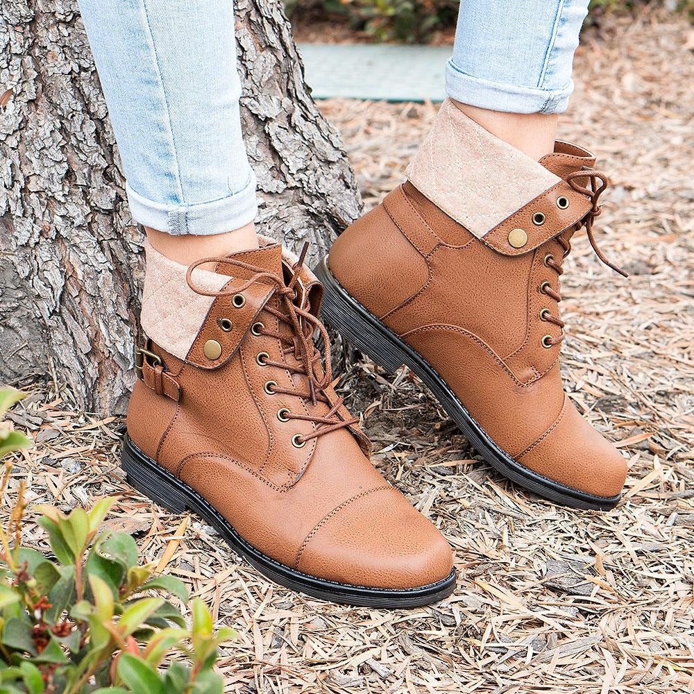 Women's Folded Pattern Boots - Forever - Tan / 5