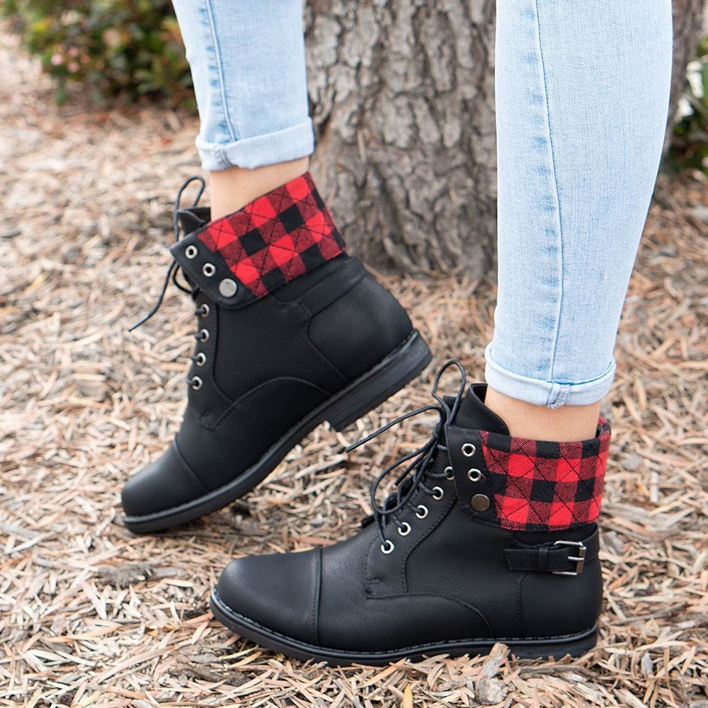 Women's Folded Pattern Boots - Forever
