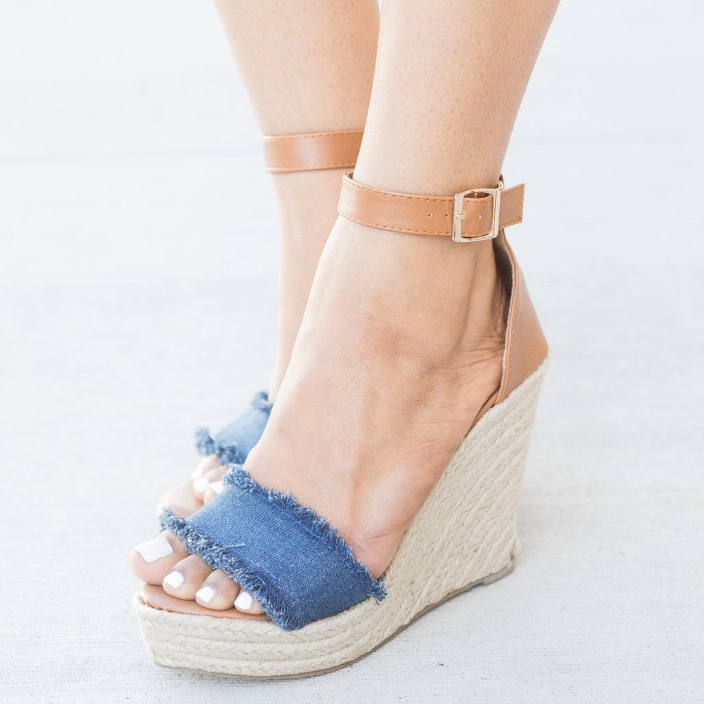 Womens Frayed Denim Espadrille Wedges - Refresh - Denim / 5