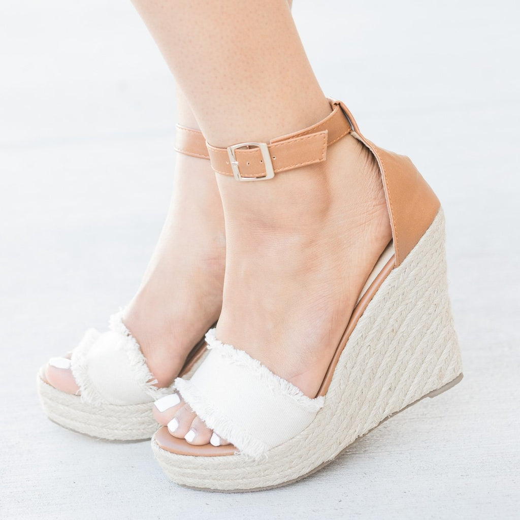 Womens Frayed Denim Espadrille Wedges - Refresh - Beige / 5