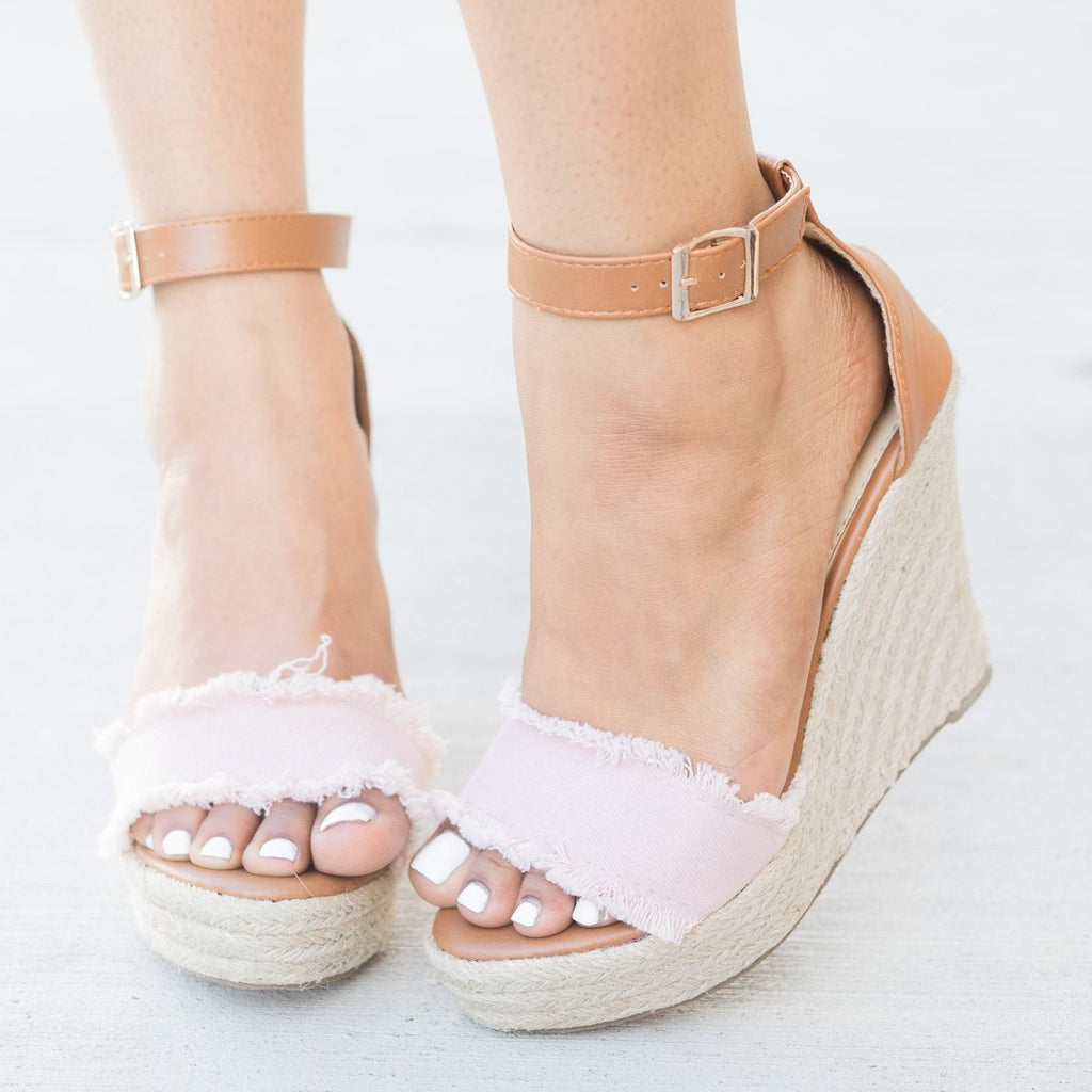 Womens Frayed Denim Espadrille Wedges - Refresh - Mauve / 5