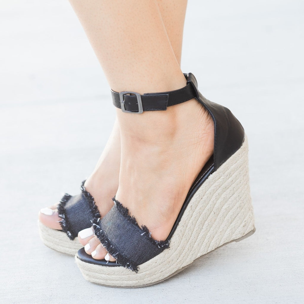 Womens Frayed Denim Espadrille Wedges - Refresh - Black / 5