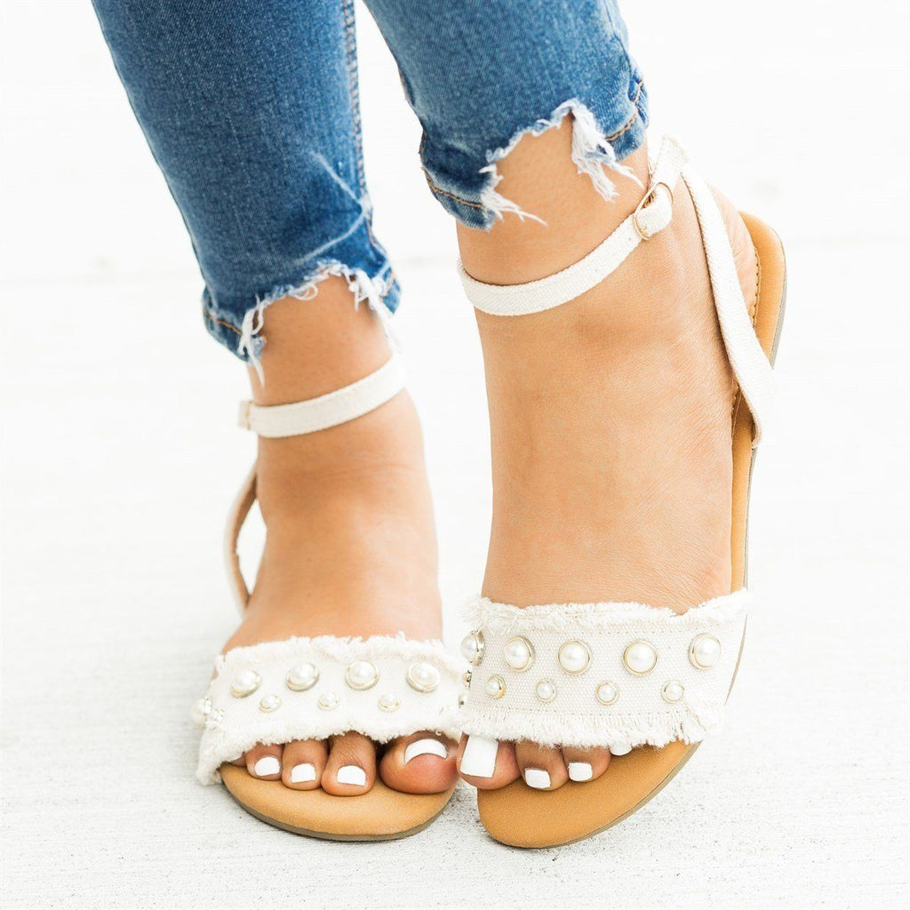 Womens Frayed Edge Pearl Sandals - Refresh - Beige / 5
