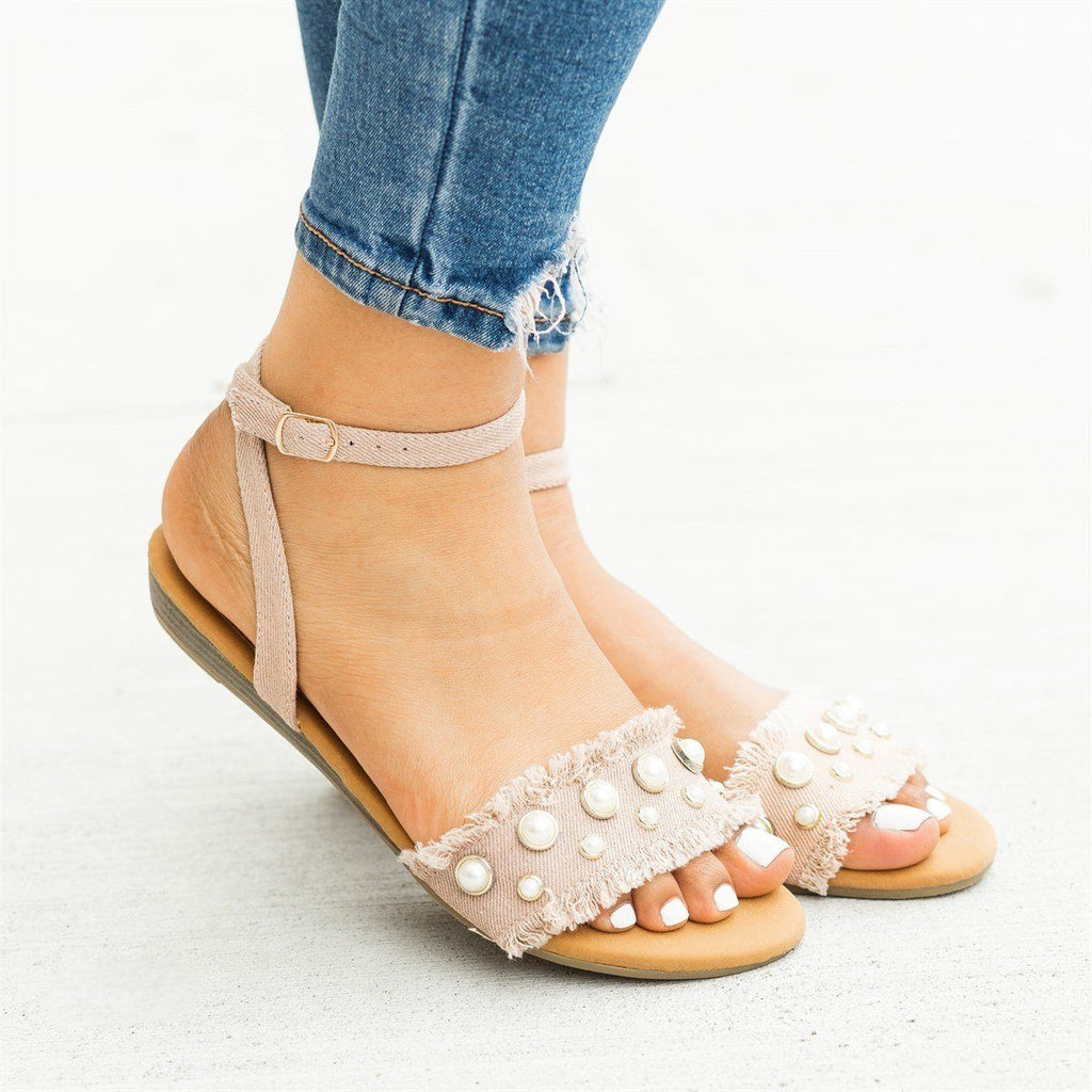 Womens Frayed Edge Pearl Sandals - Refresh