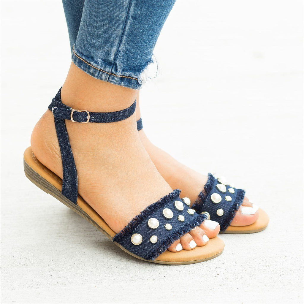 Womens Frayed Edge Pearl Sandals - Refresh - Denim / 5