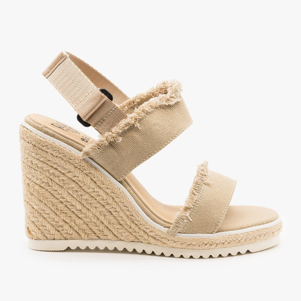 Womens Frayed Trim Espadrille Wedges - Beast Shoes