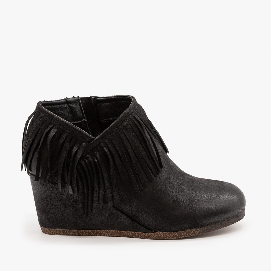 Womens Fringe Capped Wedge Booties - Mata - Black / 5