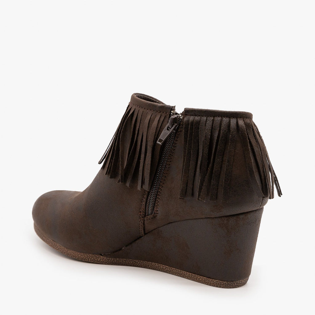 Womens Fringe Capped Wedge Booties - Mata