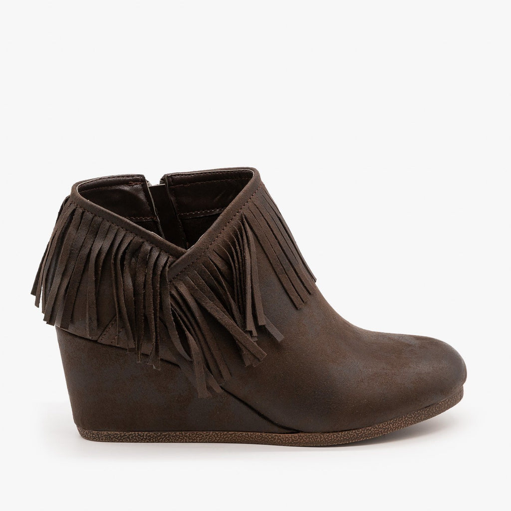 Womens Fringe Capped Wedge Booties - Mata - Brown / 5