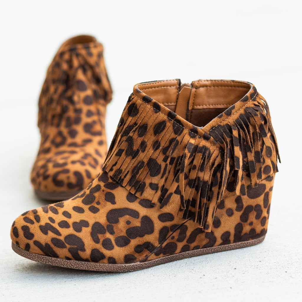 Womens Fringe Capped Wedge Booties - Mata - Leopard / 5