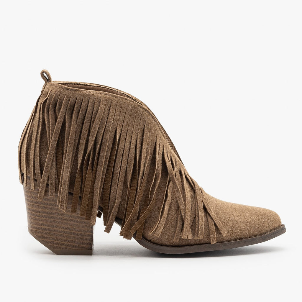 Womens Fringe V-Cut Booties - Beast Shoes