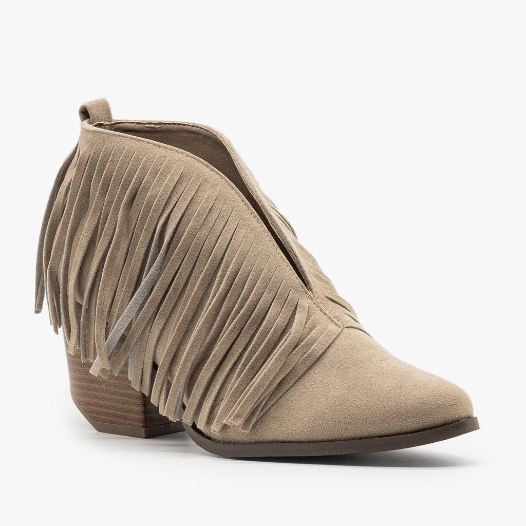 Womens Fringe V-Cut Booties - Beast Shoes - Taupe / 5