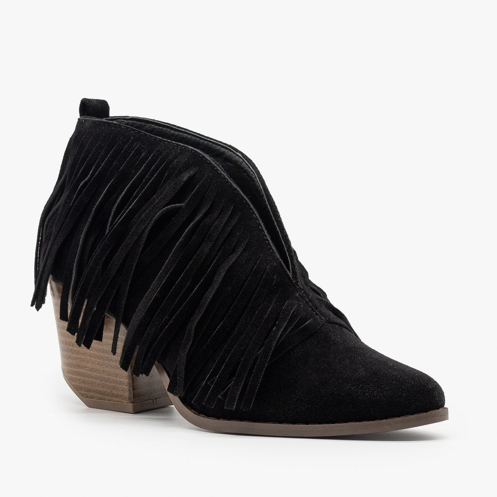 Womens Fringe V-Cut Booties - Beast Shoes - Black / 5