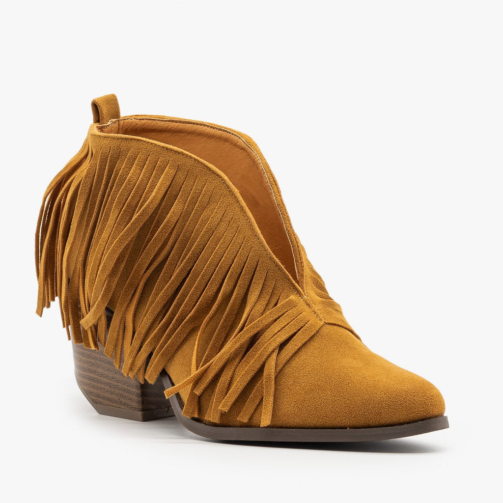 Womens Fringe V-Cut Booties - Beast Shoes - Camel / 5