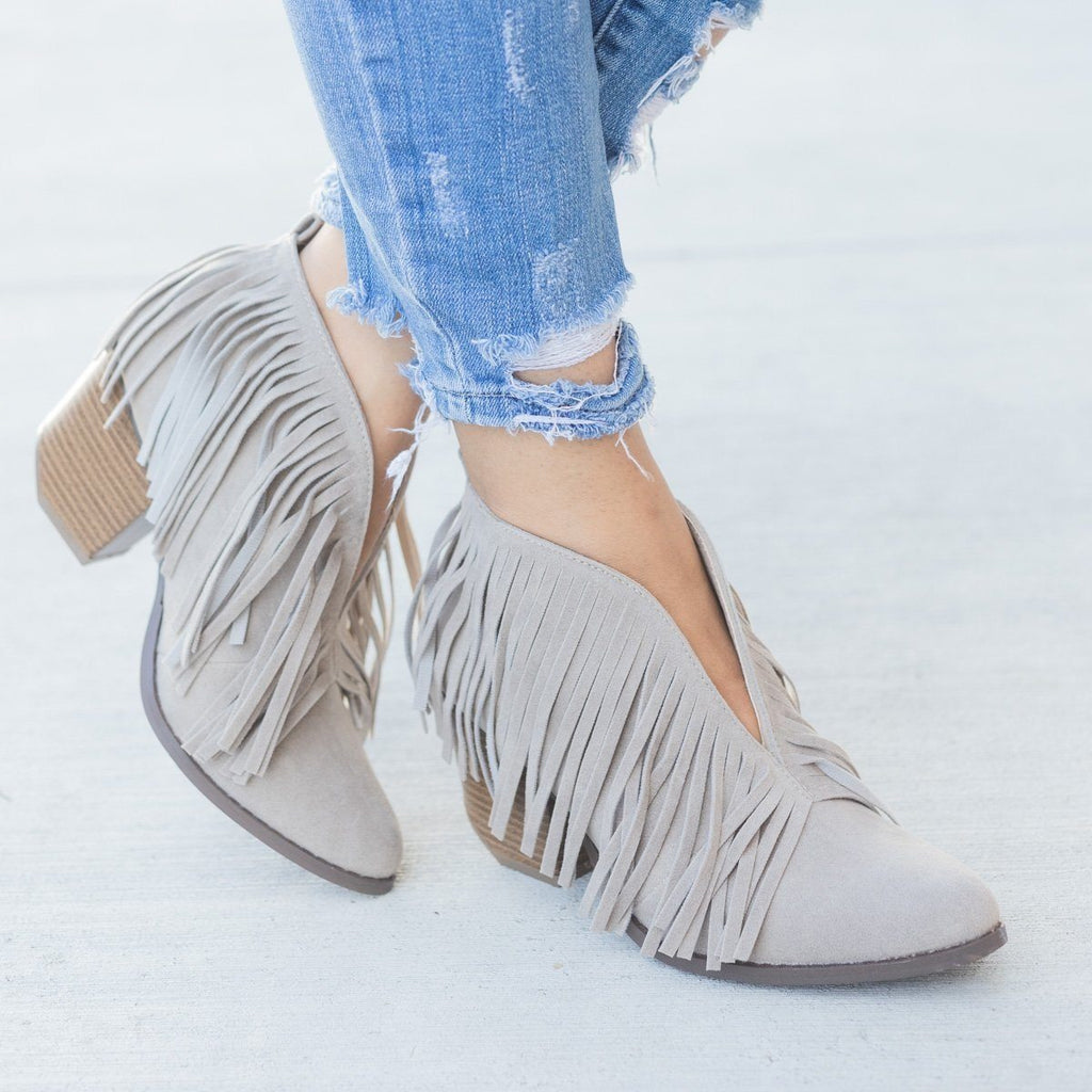 Womens Fringe V-Cut Booties - Beast Shoes - Gray / 6