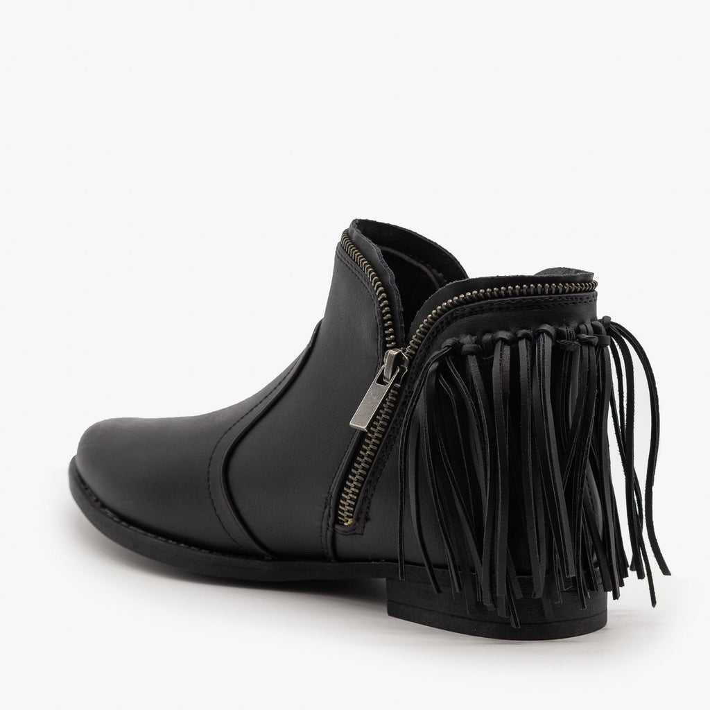 Womens Fringe Zippered Bootie - Bamboo Shoes