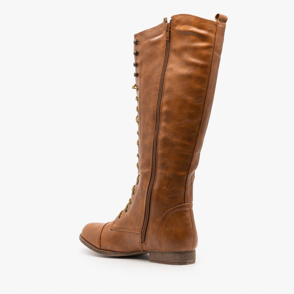 Womens Front Laced Riding Boots - Papaya Shoes