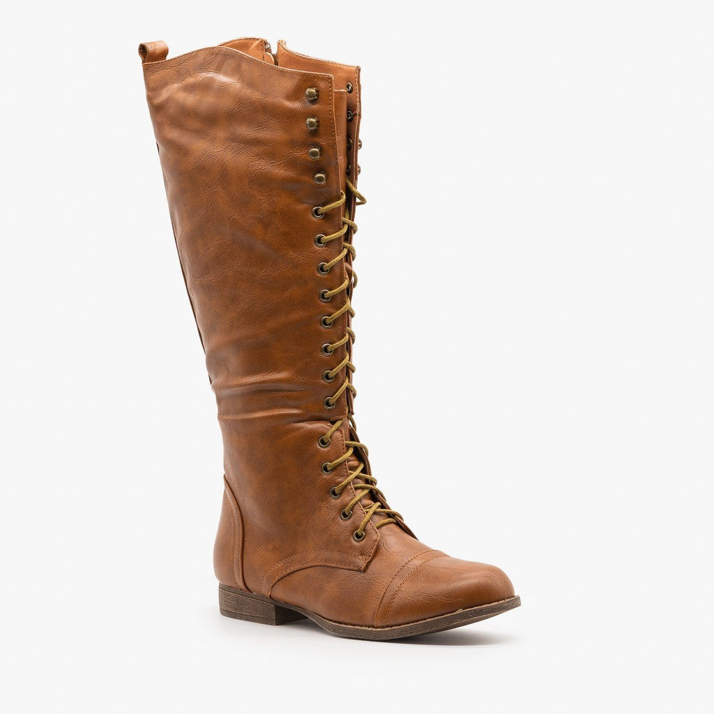 Womens Front Laced Riding Boots - Papaya Shoes - Cognac / 5