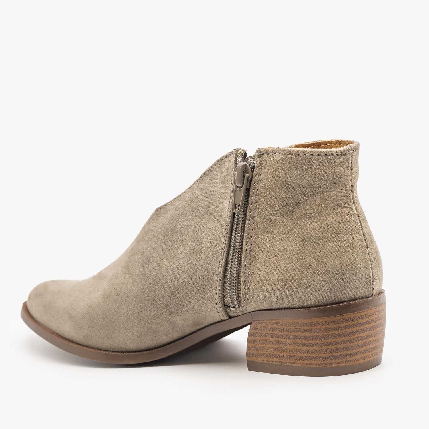 Women/'s Shoes Qupid RAGER 27 Casual V Cut Ankle Booties TAUPE SUEDE *New*