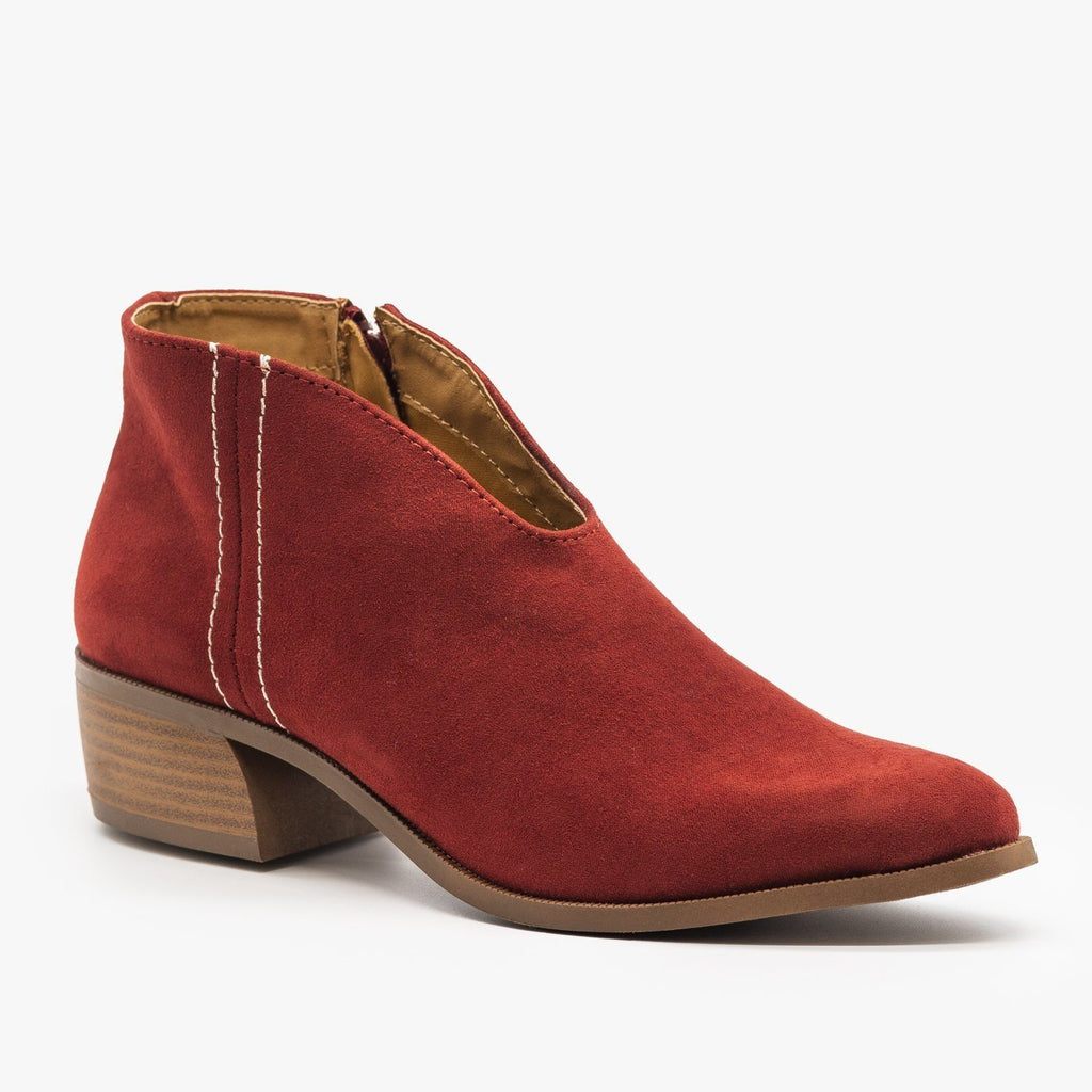 Womens Front V-Cut Stitched Ankle Booties - Qupid Shoes - Adobe Red / 5