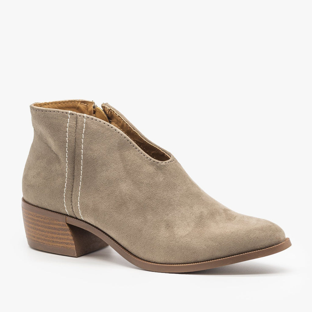 Womens Front V-Cut Stitched Ankle Booties - Qupid Shoes - Taupe / 5
