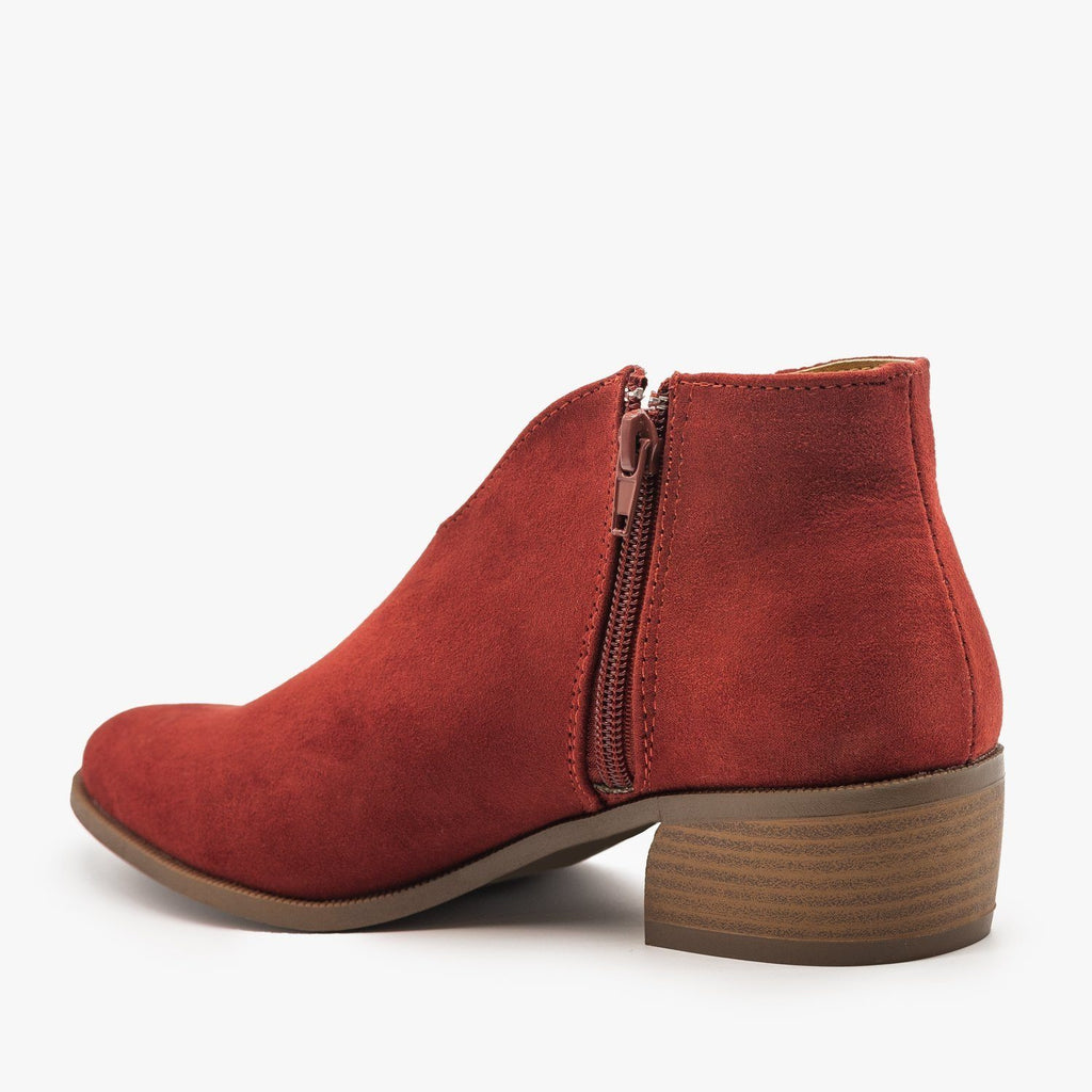 Womens Front V-Cut Stitched Ankle Booties - Qupid Shoes