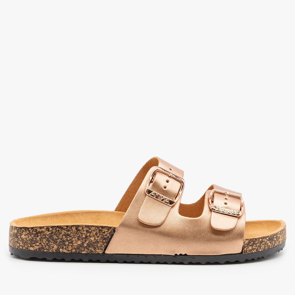 Womens Fun and Fashionable Double Buckle Sandals - Anna Shoes - Rose Gold / 5