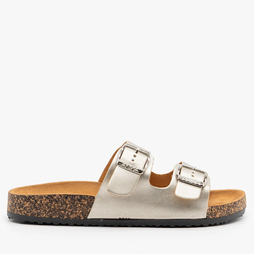Womens Fun and Fashionable Double Buckle Sandals - Anna Shoes - Silver / 5