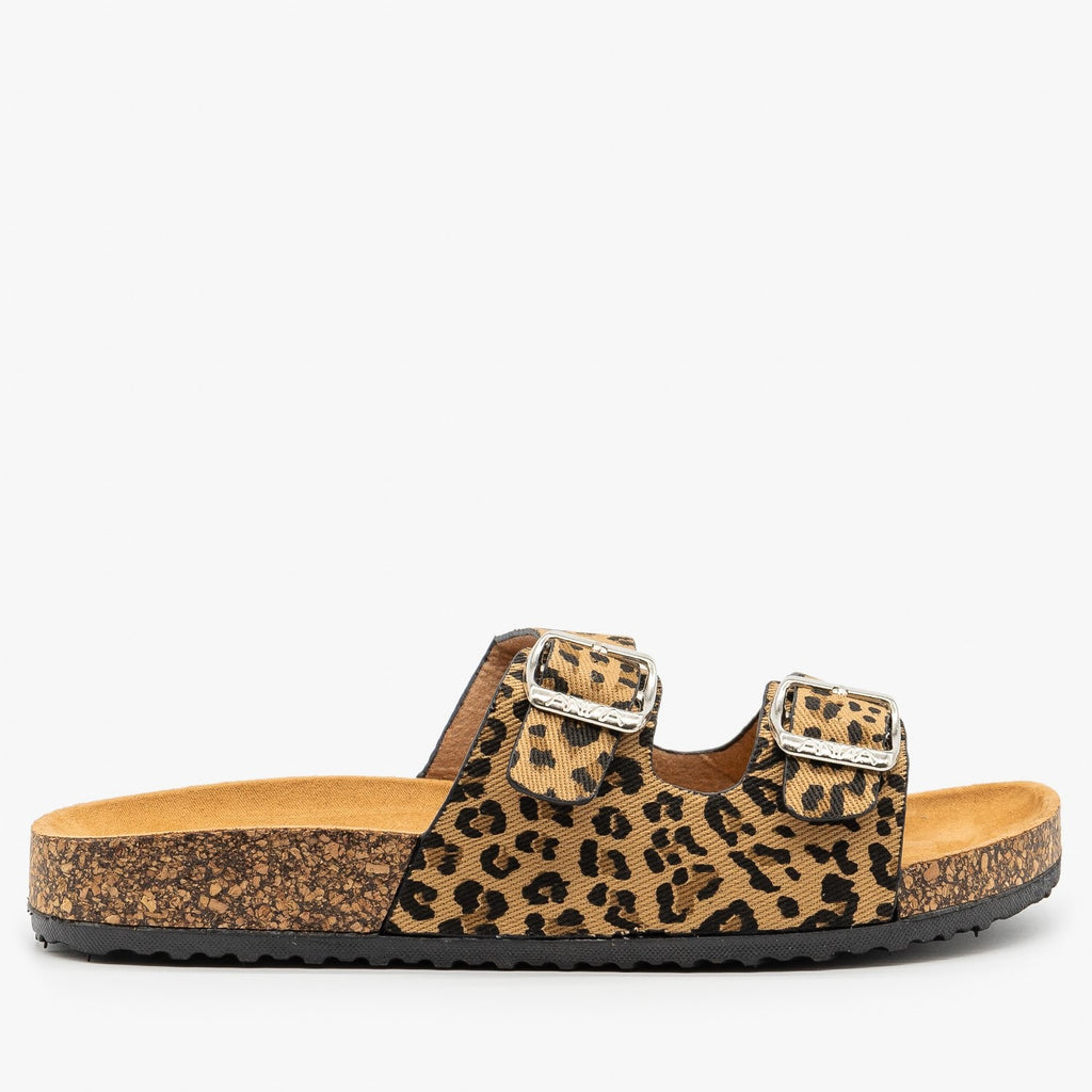 Womens Fun and Fashionable Double Buckle Sandals - Anna Shoes - Leopard / 5