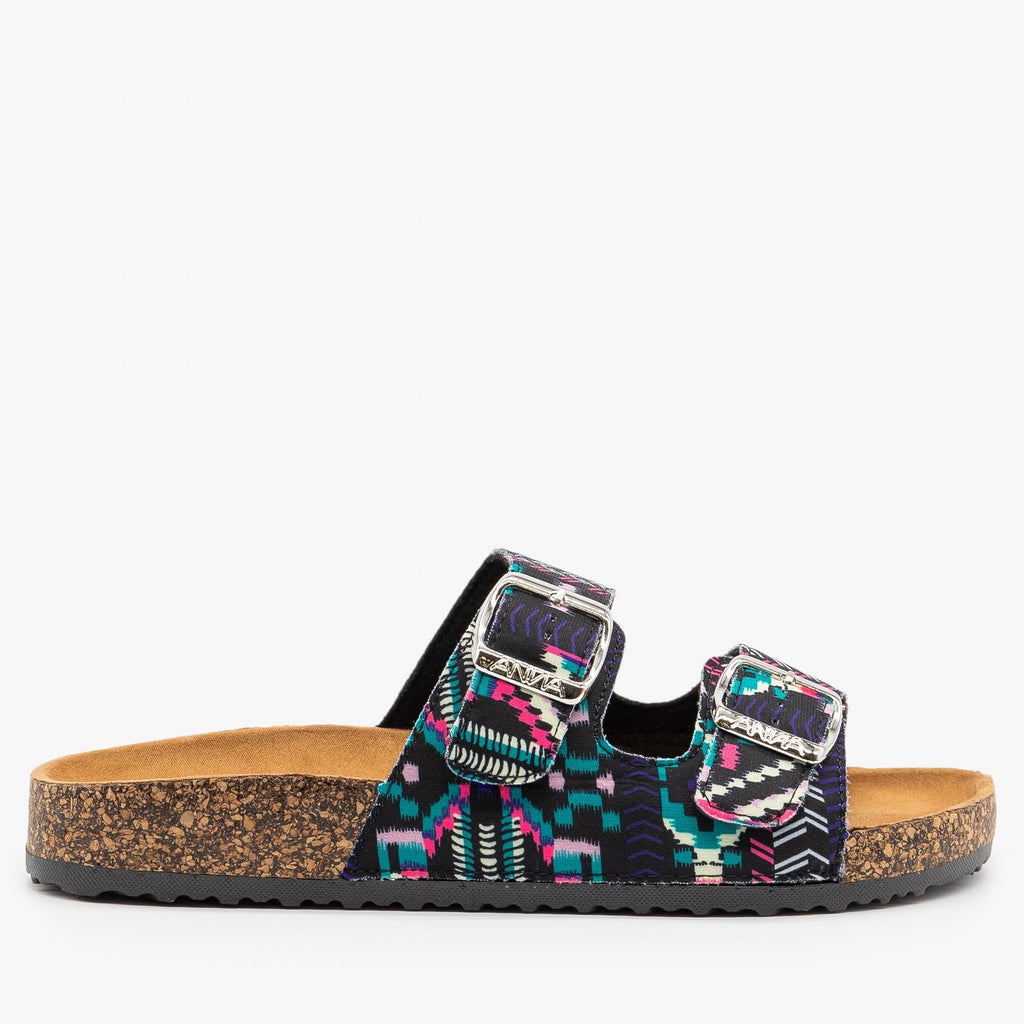 Womens Fun and Fashionable Double Buckle Sandals - Anna Shoes - Multi Fabric / 5