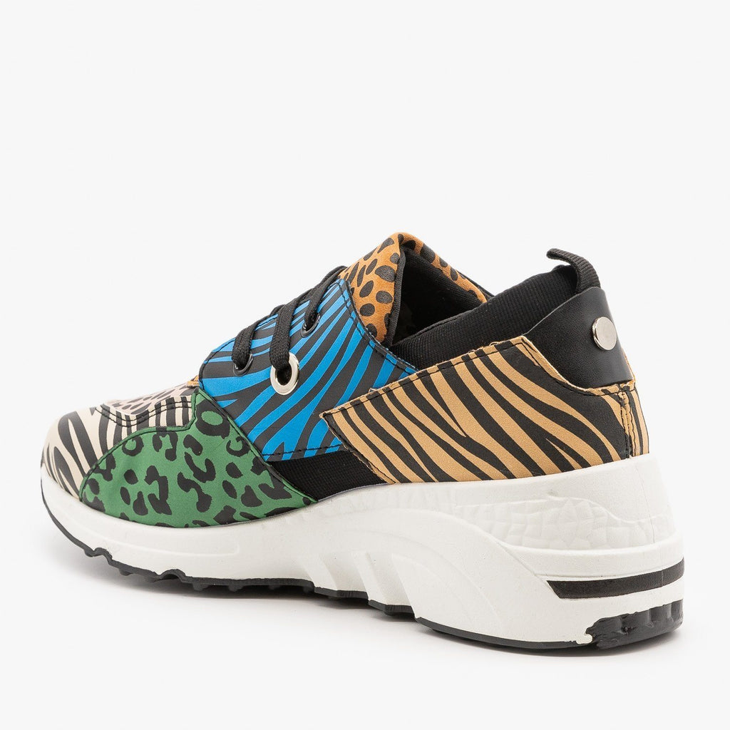 Womens Retro Animal Print Chunky Sneakers - La Sheelah Shoes