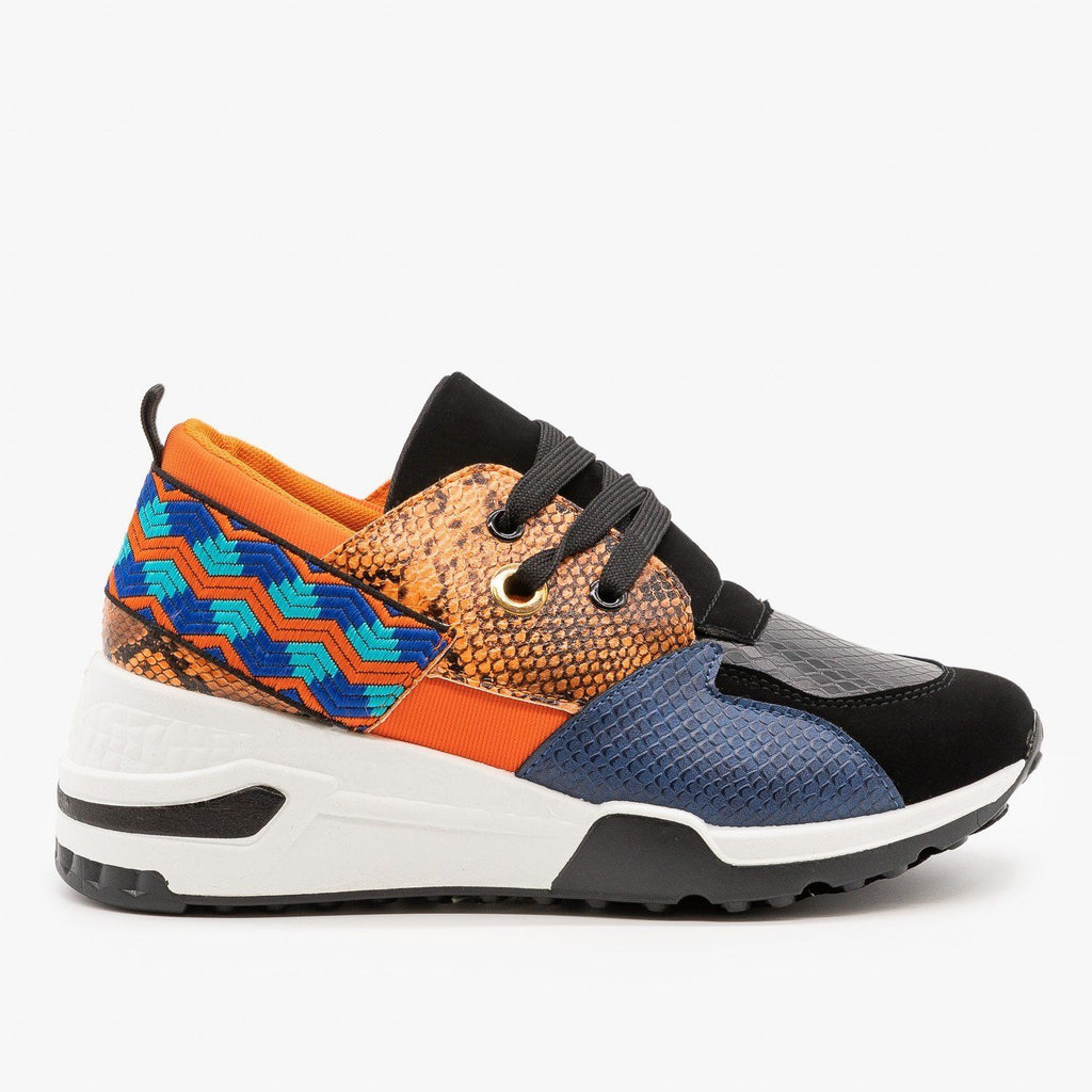 Womens Retro Animal Print Chunky Sneakers - La Sheelah Shoes - Orange Snake / 5