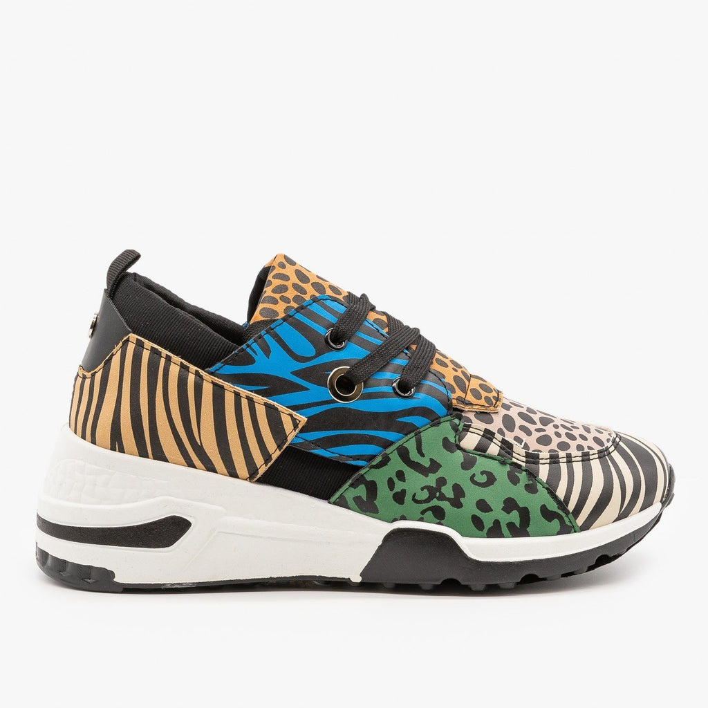 Womens Retro Animal Print Chunky Sneakers - La Sheelah Shoes - Animal Multi / 5
