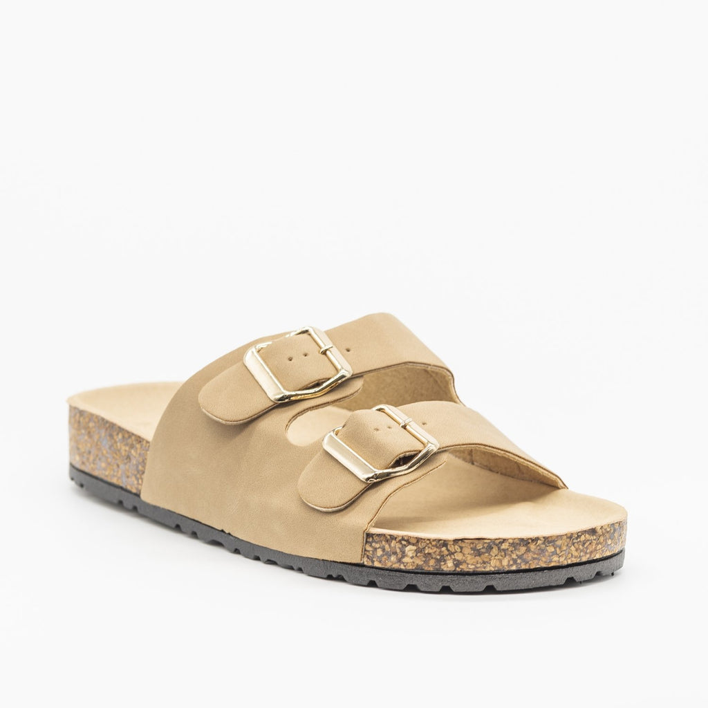 Womens Fun Double Buckle Fashion Sandals - Bamboo Shoes - Natural / 5