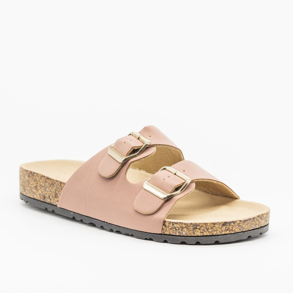 Womens Fun Double Buckle Fashion Sandals - Bamboo Shoes - Dark Mauve / 5