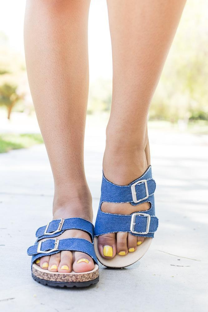 Womens Fun Double Buckle Fashion Sandals - Bamboo Shoes - Blue Denim / 5
